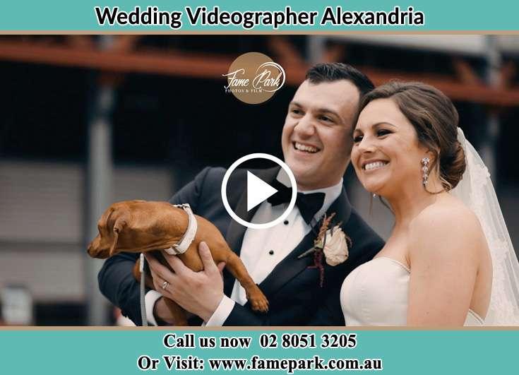 Bride and Groom holding dog Alexandria NSW 2015