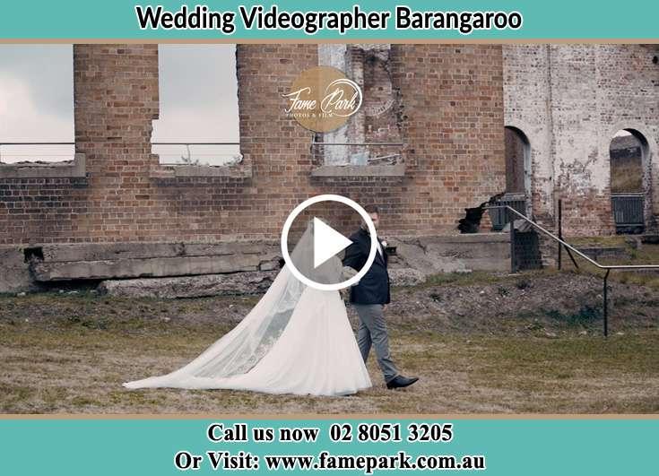 Bride and Groom walking near the ruins Barangaroo NSW 2000