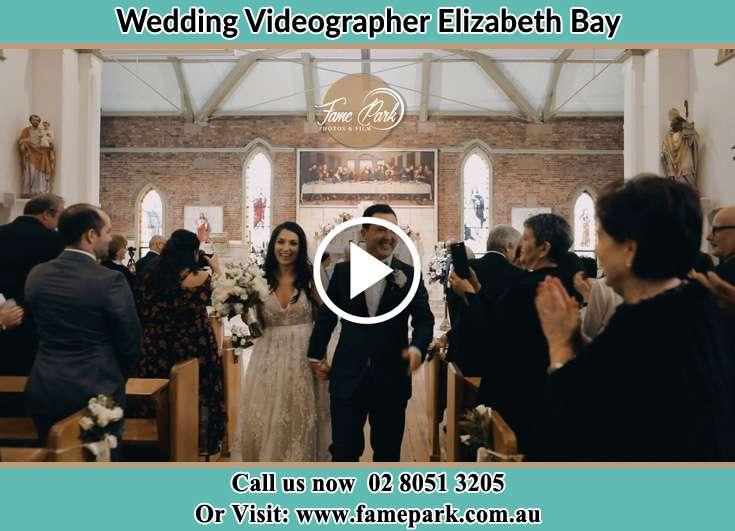 Bride and Groom walking the aisle Elizabeth Bay 2011