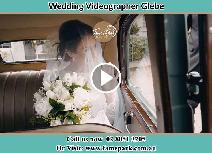 Bride inside the bridal car Glebe NSW 2037