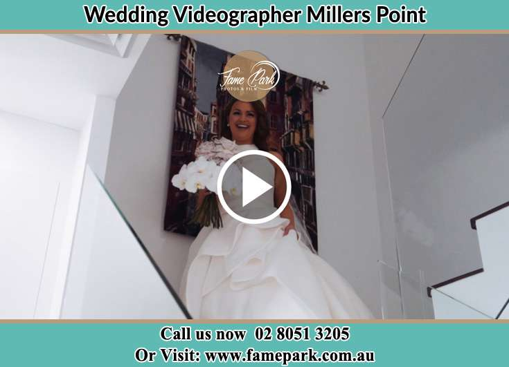 Bride walking down the staircase Millers Point NSW 2000
