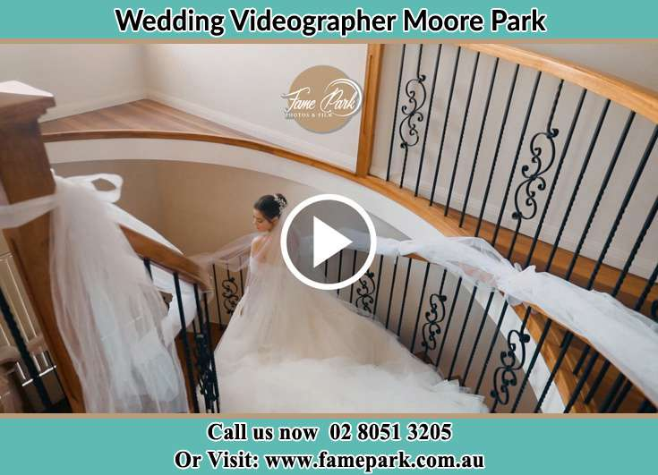 Bride walking down the staircase Moore Park NSW 2021