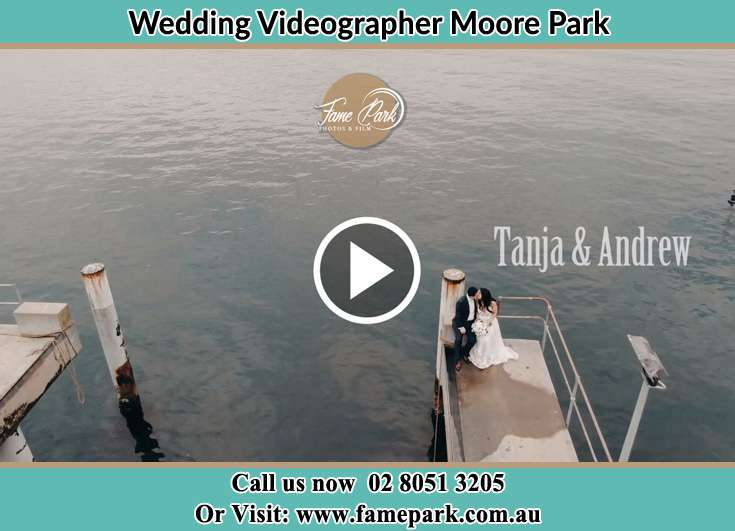 Bride and Groom at the lake shore Moore Park NSW 2021