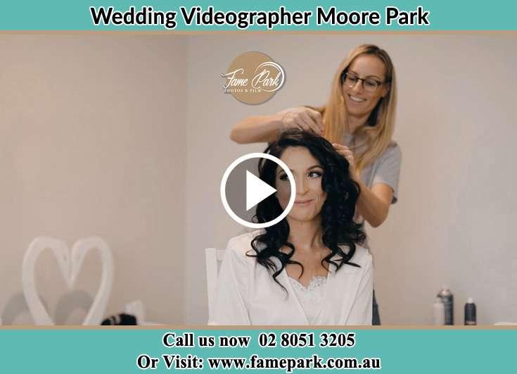 Bride getting her hair done Moore Park NSW 2021