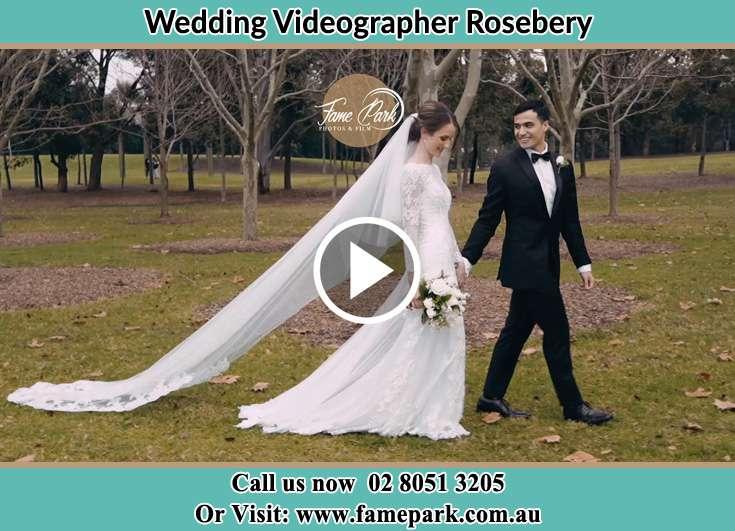 Bride and Groom walking at bush Rosebery NSW 2018
