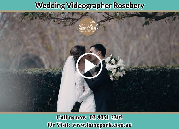 Bride and Groom kissed at the garden Rosebery NSW 2018