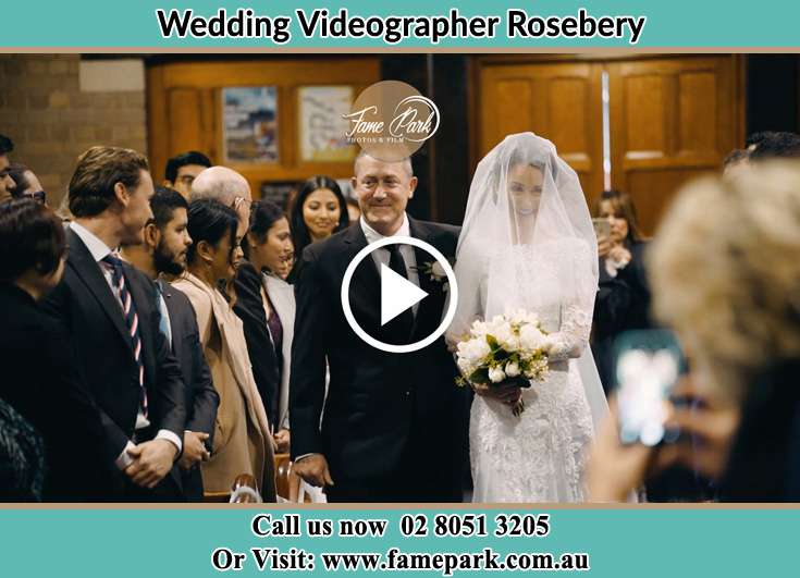 Bride walking the aisle with her father Rosebery NSW 2018