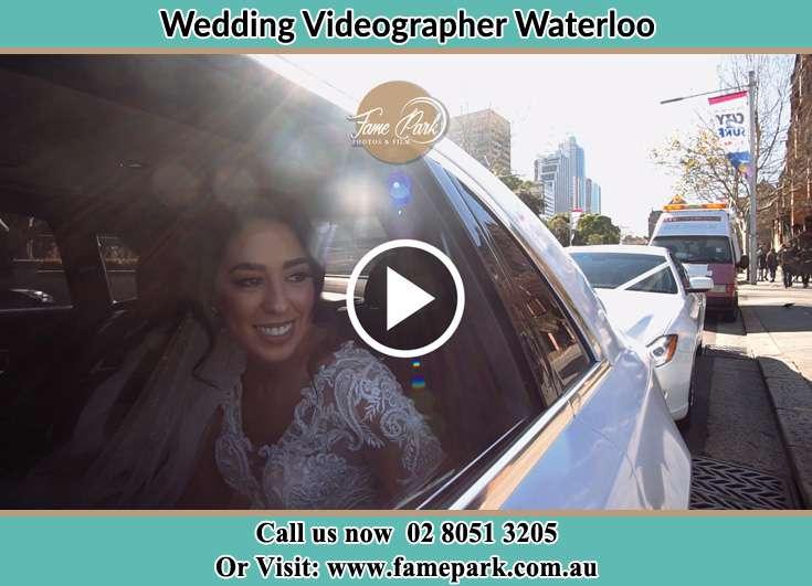 Bride inside the bridal car Waterloo NSW 2017