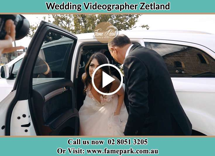 The Bride getting out of her bridal car Zetland NSW 2017