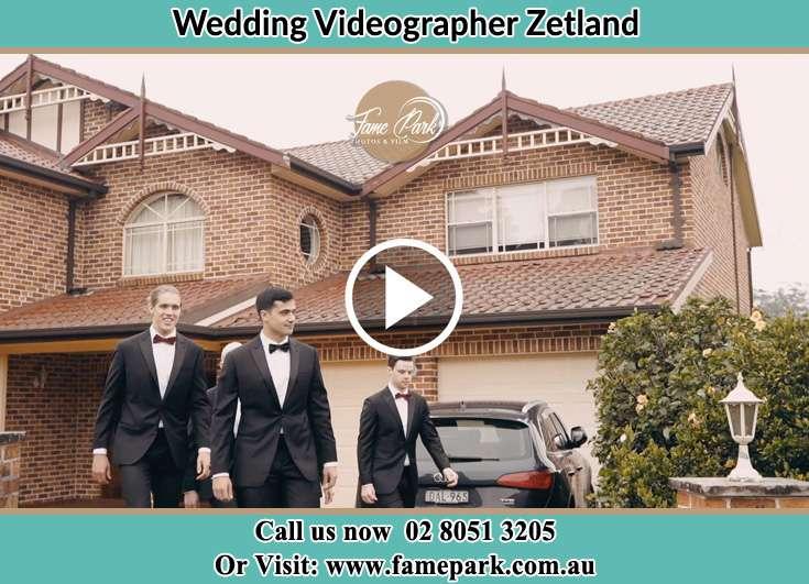 The Groom walking with his groomsmen Zetland NSW 2017